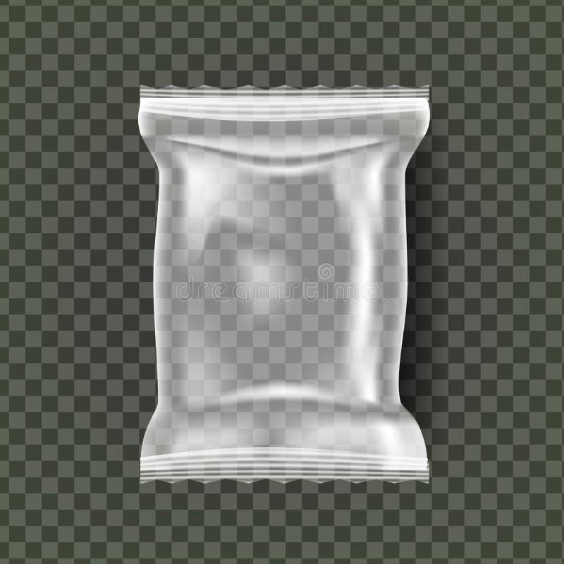 Plastic Snack Packaging Vector. Transparent Pillow Bag Wrap. Empty Product Polyethylene Mock Up Template. Nylon Doy Pack. Branding Package Illustration vector illustration