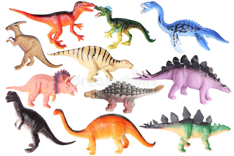 Plastic speelgoed - dinosaurussen stock illustratie