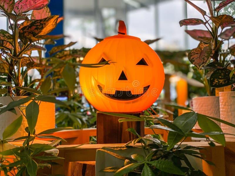 Plastic spooky pumpkin Halloween Jack o Lantern decoration stock photo