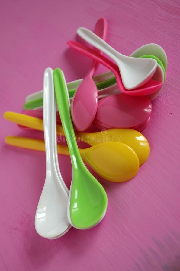 Plastic spoon royalty free stock photo