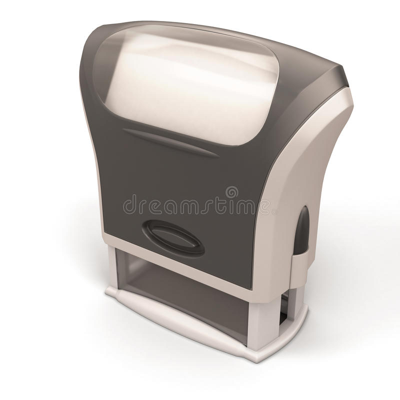 Plastic stamp close-up. On white background. 3d render image vector illustration