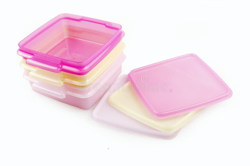 Plastic storage boxes stock photos