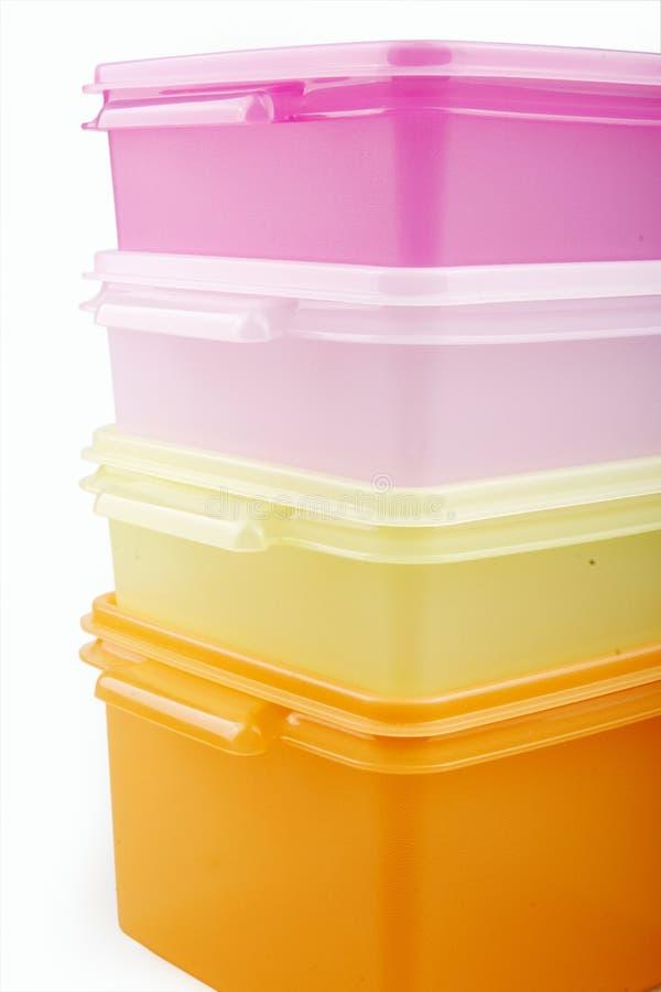 Plastic storage boxes royalty free stock image