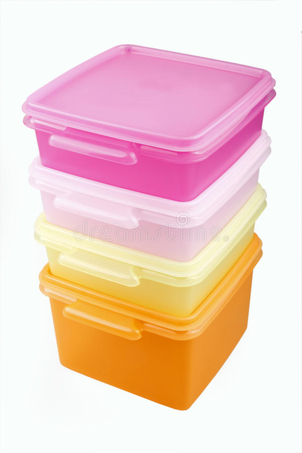 Plastic storage boxes royalty free stock images