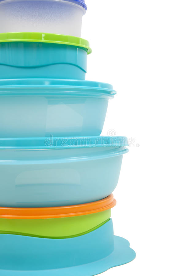 Plastic storage boxes royalty free stock photography