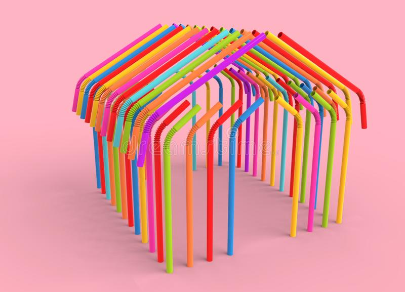Plastic straws house concept of World Environment Day. stock photos