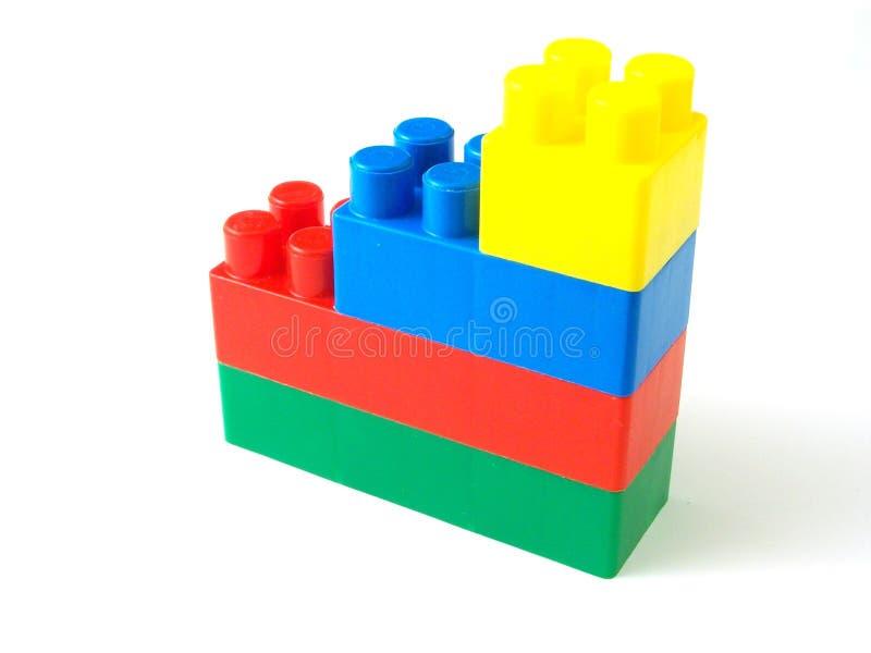 Plastic stuk speelgoed bakstenen royalty-vrije stock foto's