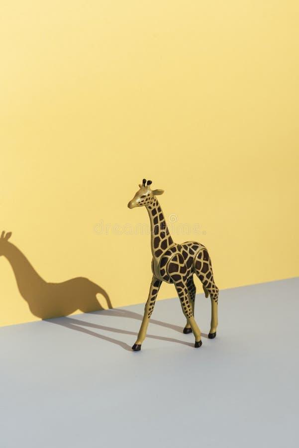 Plastic stuk speelgoed giraf, op gele en blauwe achtergrond die zijn s gieten royalty-vrije stock fotografie
