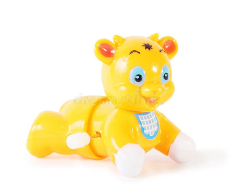 Plastic stuk speelgoed mechanische geïsoleerder stier royalty-vrije stock foto's