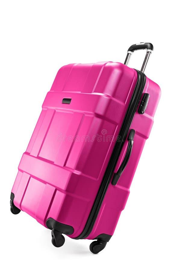 Plastic suitcase for traveler. Modern plastic suitcase for traveler isolated on white background royalty free stock image