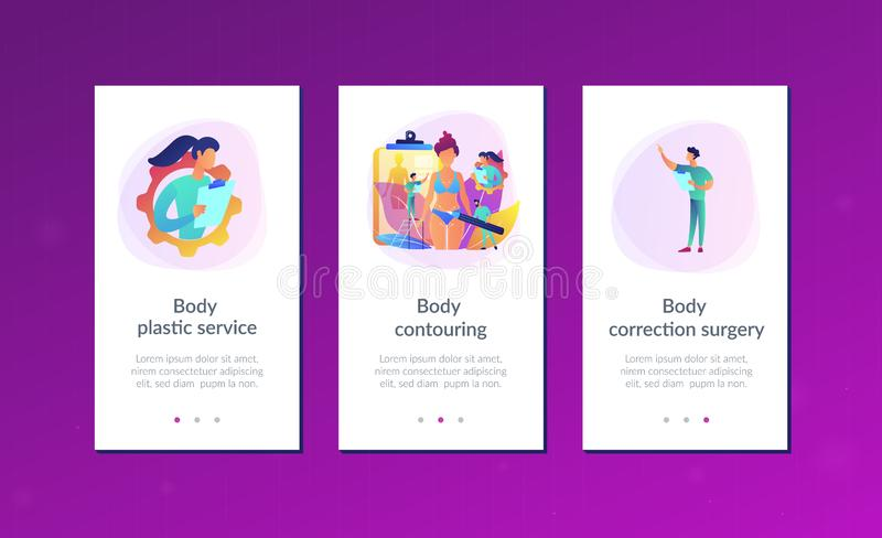Body contouring app interface template. Plastic surgeons doing pencil marks and preparing body contouring of woman. Body contouring, body correction surgery vector illustration