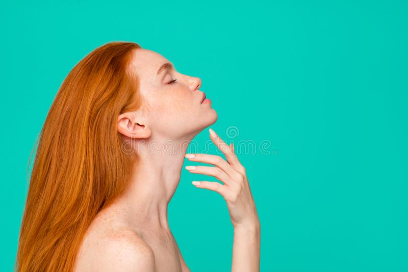Plastic surgery advertising. Profile side view portrait of nude. Red-haired girl with pure clear fresh smooth perfect skin, spa, therapy, treatment, copy-space stock image