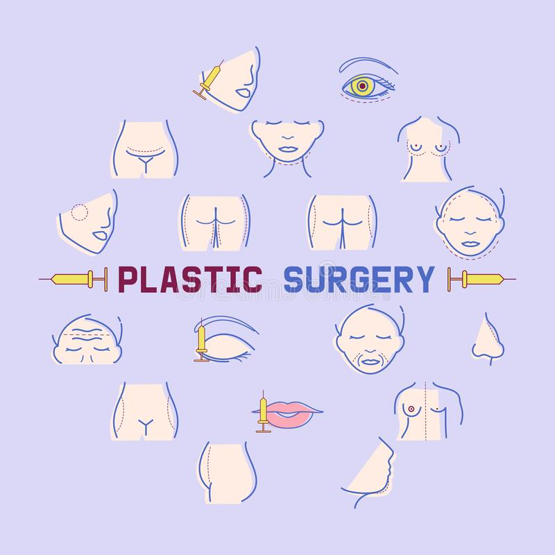 Plastic surgery banner vector illustration. Face and body correction. Doctor consultation. Breast augmentation. Liposuction, face and body cosmetology. beauty royalty free illustration