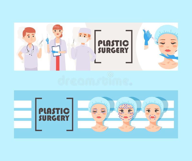 Plastic surgery banner vector illustration. Face correction. Doctors stuff with equipment. Liposuction of cheeks, eyes. Plastic surgery banner vector stock illustration