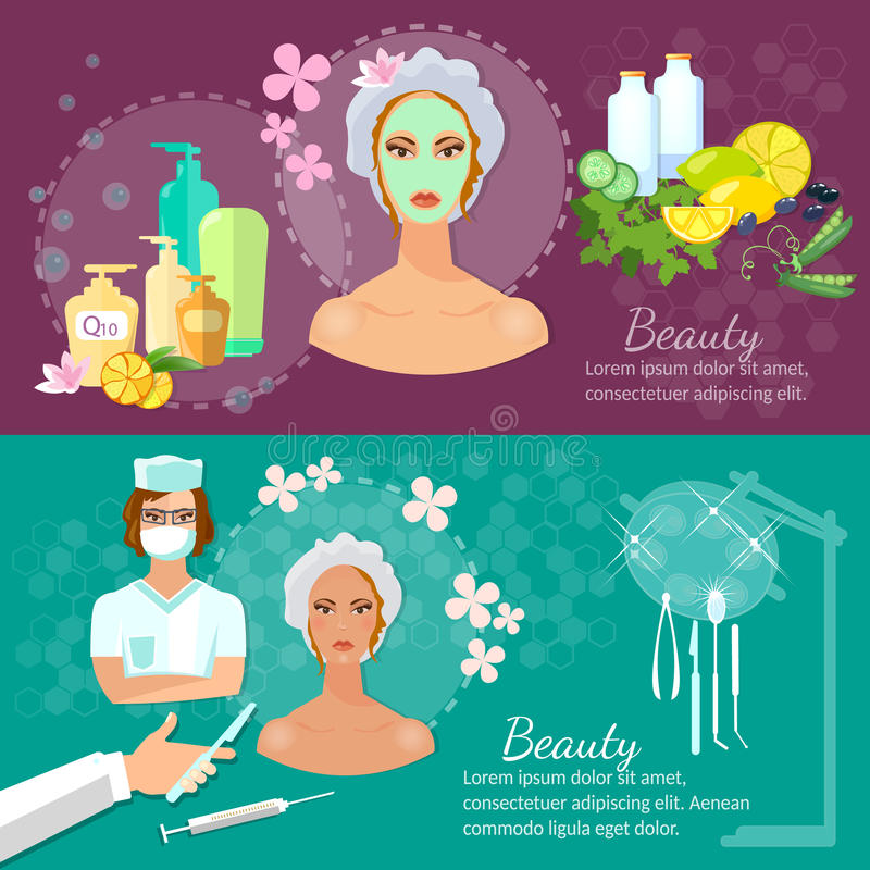 Plastic surgery banner women's beauty skin care. Aging and youth vector illustration