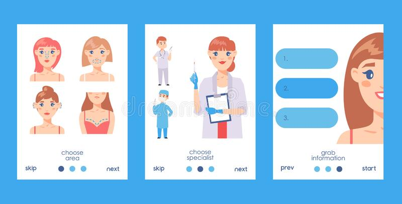 Plastic surgery set of cards vector illustration. Face and body correction. Doctors consultation. Breast augmentation. Plastic surgery cards vector illustration royalty free illustration