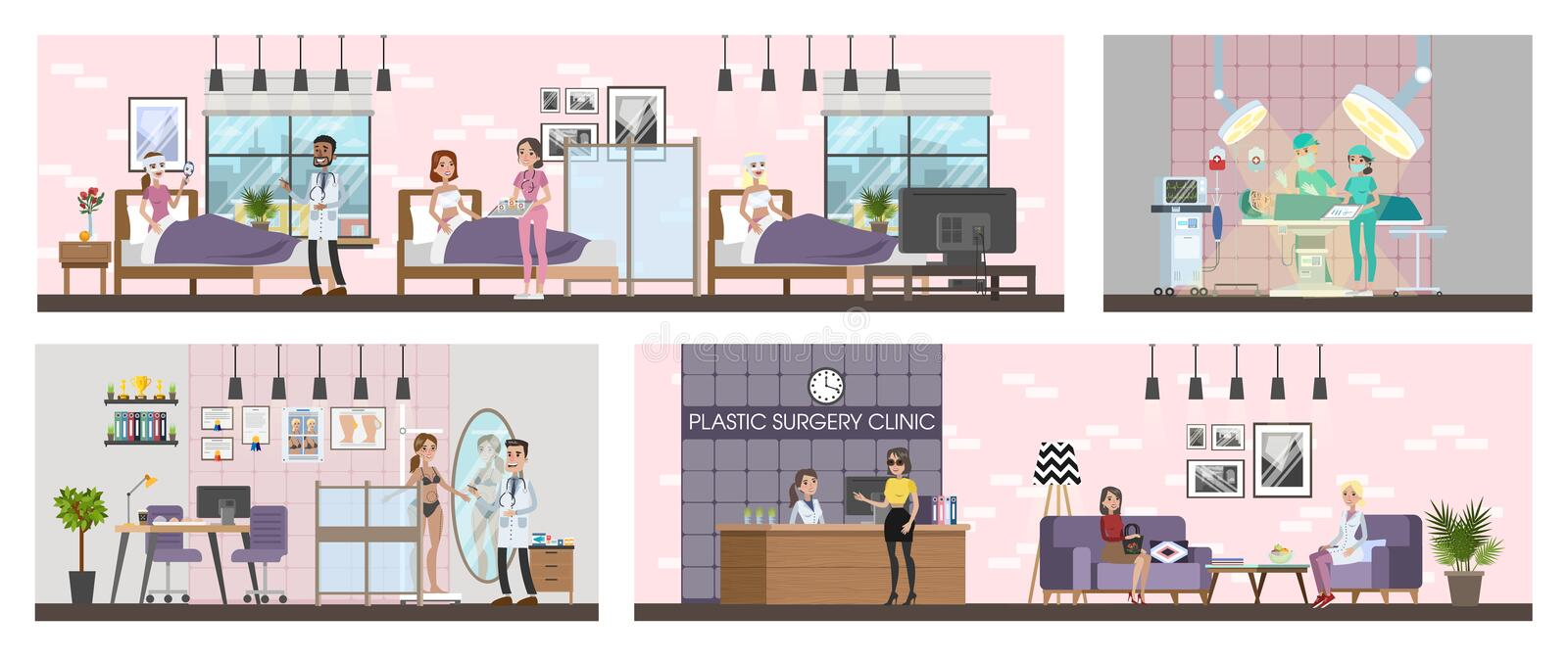 Plastic surgery clinic interior with surgery, rooms and reception. Woman after surgeon in the bed. Vector flat illustration royalty free illustration