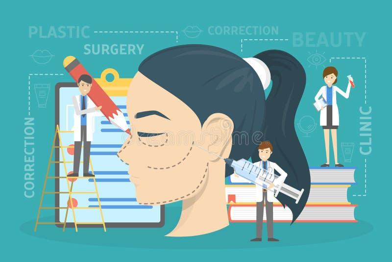 Plastic surgery concept. Idea of body correction. Plastic surgery concept. Idea of body and face correction. Rhinoplastyin hospital and anti-aging procedure stock illustration