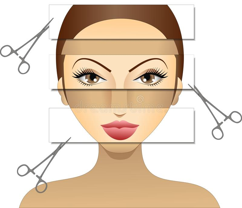 Plastic (Surgery) Diva. Vector illustration of woman preparing to undergo cosmetic surgery for eyes, nose, hair transplant, lip enhancement vector illustration