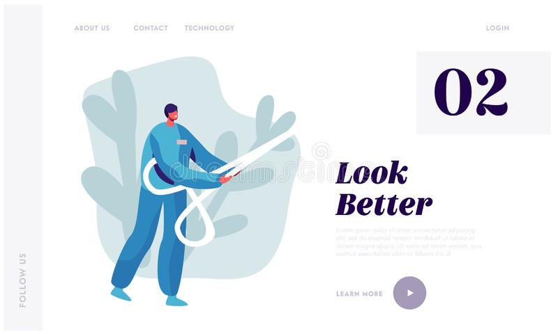 Plastic Surgery Doctor Character in Uniform Holding Huge Scissors in Hands. Beauty and Healthcare Concept for Medical Clinic vector illustration