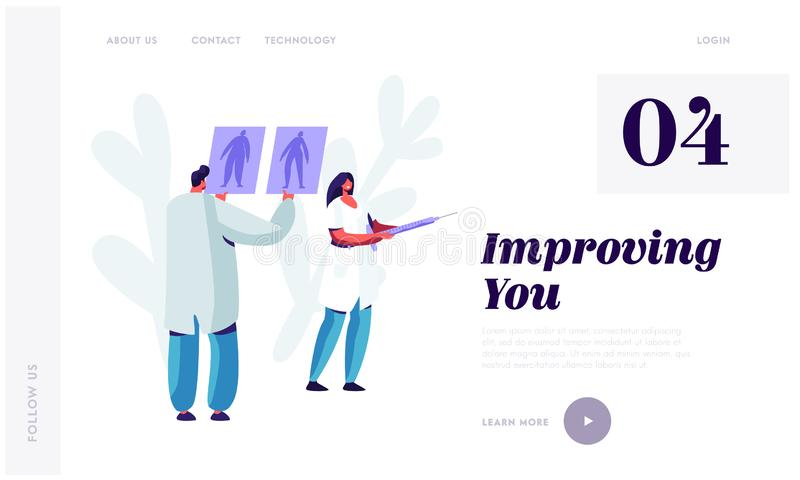 Plastic Surgery Doctor in White Robe Learning Pictures of Male and Female Patient Body Preparing for Beauty Cosmetics Procedure. Website Landing Page, Web Page vector illustration