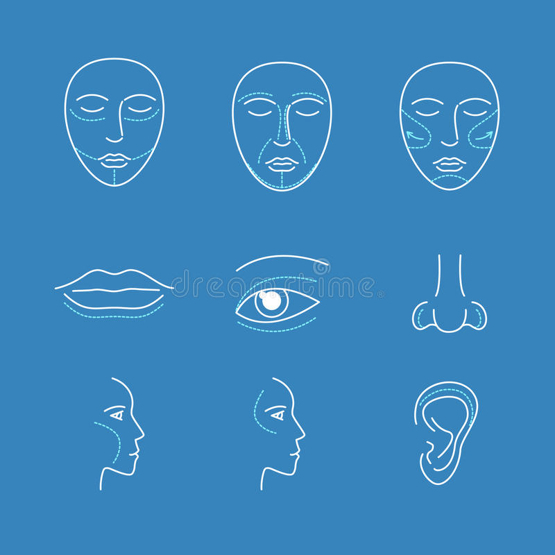 Plastic Surgery Face Icons Thin Line Set. Vector royalty free illustration