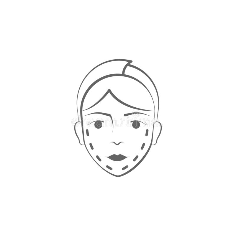 Plastic surgery hand draw icon. Elements of face and body lifting illustration icon. Signs and symbols can be used for web, logo,. Mobile app, UI, UX on white royalty free illustration