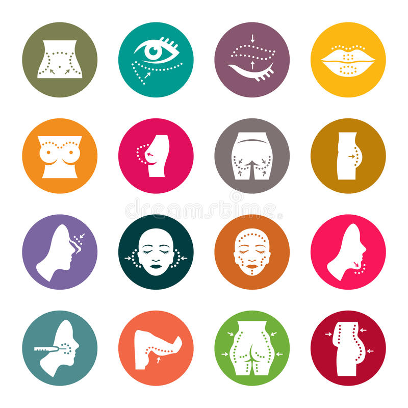Plastic surgery icons. Plastic surgery icon set stock illustration