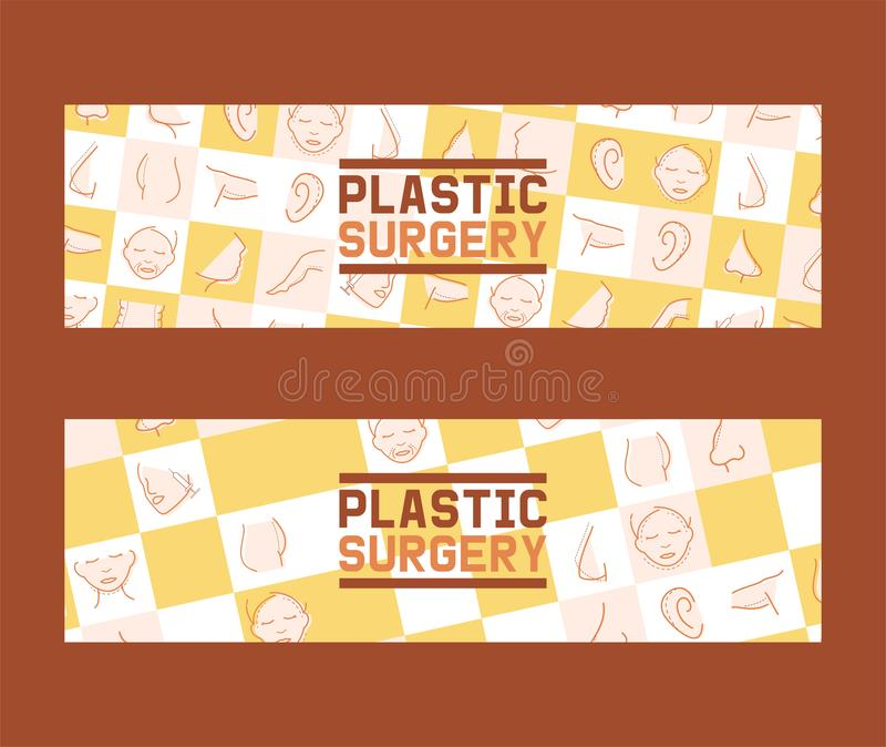 Plastic surgery set of banners vector illustration. Face and body correction. Doctor consultation. Breast augmentation. Liposuction, face and body cosmetology vector illustration
