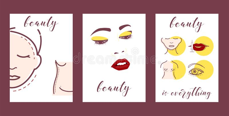 Plastic surgery set of cars vector illustration. Face and body correction. Doctor consultation. Breast augmentation. Liposuction, face and body cosmetology royalty free illustration