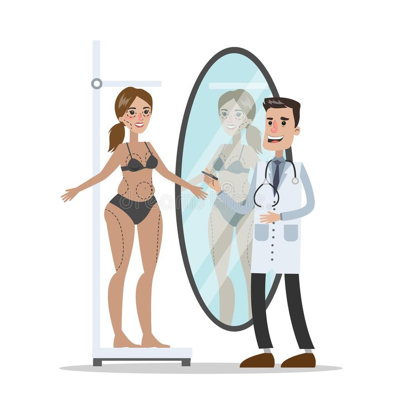 Plastic surgery set. At the plastic surgery. From ugly to beautiful royalty free illustration