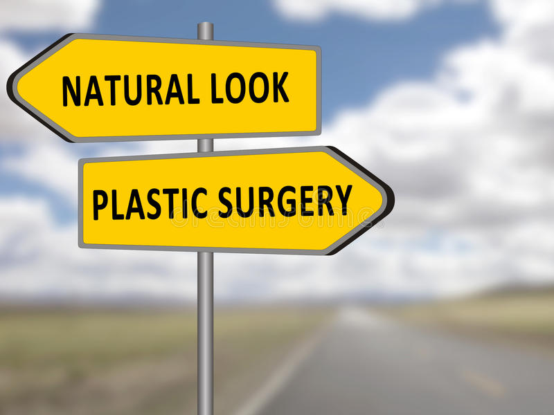 Plastic surgery vs natural look. Double road sign opposite directions plastic surgery or natural look royalty free illustration