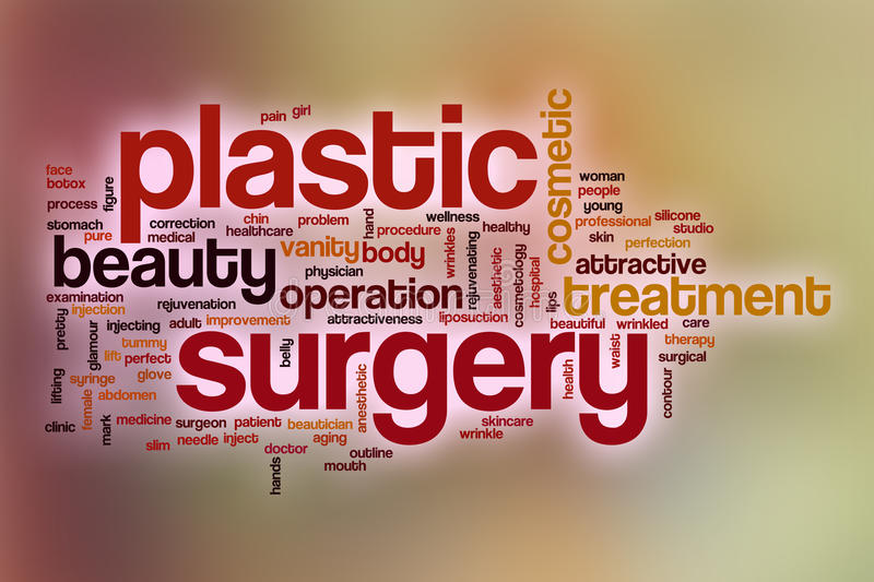 Plastic surgery word cloud with abstract background royalty free illustration