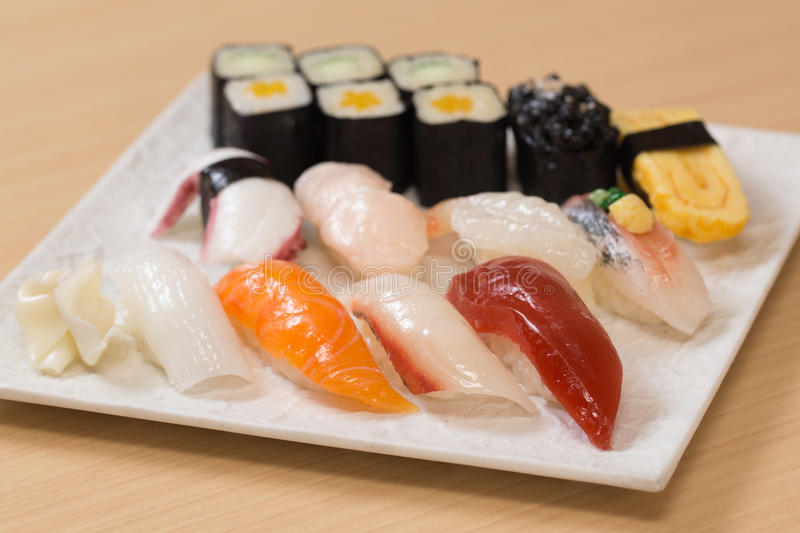 Plastic sushi food samples stock photo