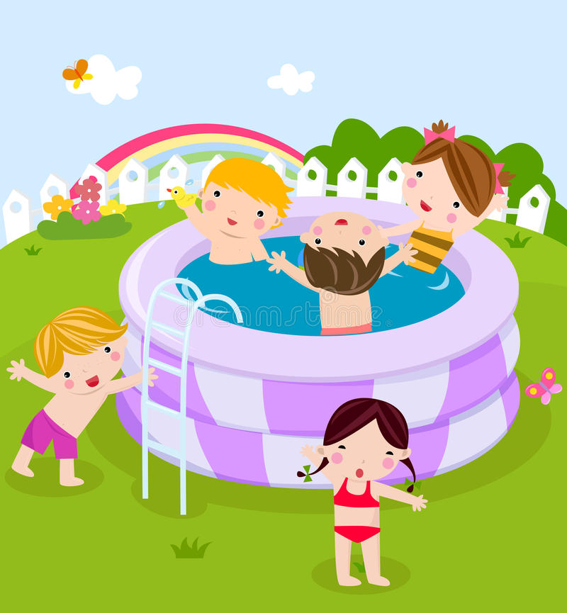 Plastic Swimming Pool With Kids Stock Vector Illustration Of Play Child 15196537