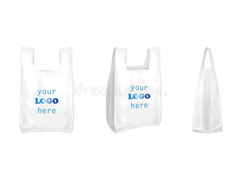 Plastic T-shirt Shopping Bags Vector Isolated 3D Realistic White ...