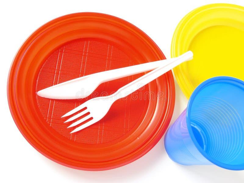 Plastic tableware royalty free stock image
