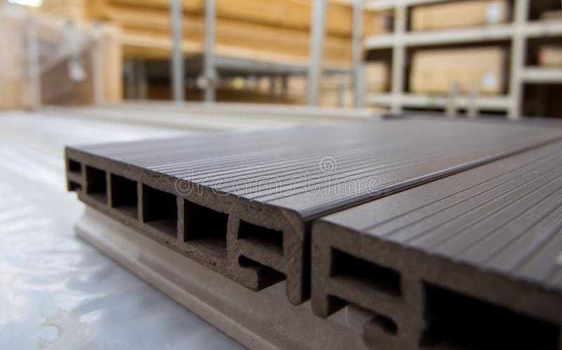 Plastic terrace board lies on the floor royalty free stock images