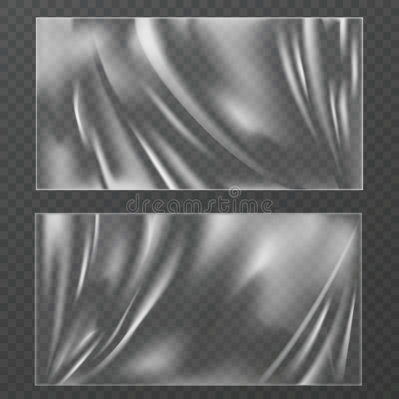 Plastic texture. Transparent plastic wrap for food container, vacuum bag. Polythene wrinkled cover, cellophane surface. Vector polymer transparency mockups royalty free illustration
