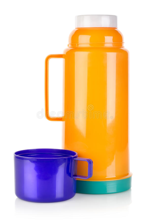 Plastic thermos. On a white background royalty free stock photography