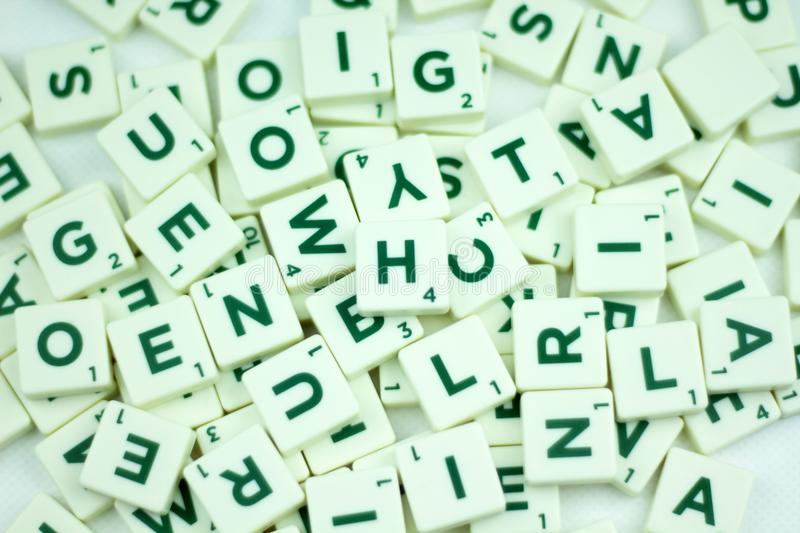 Plastic tile alphabet for games royalty free stock image