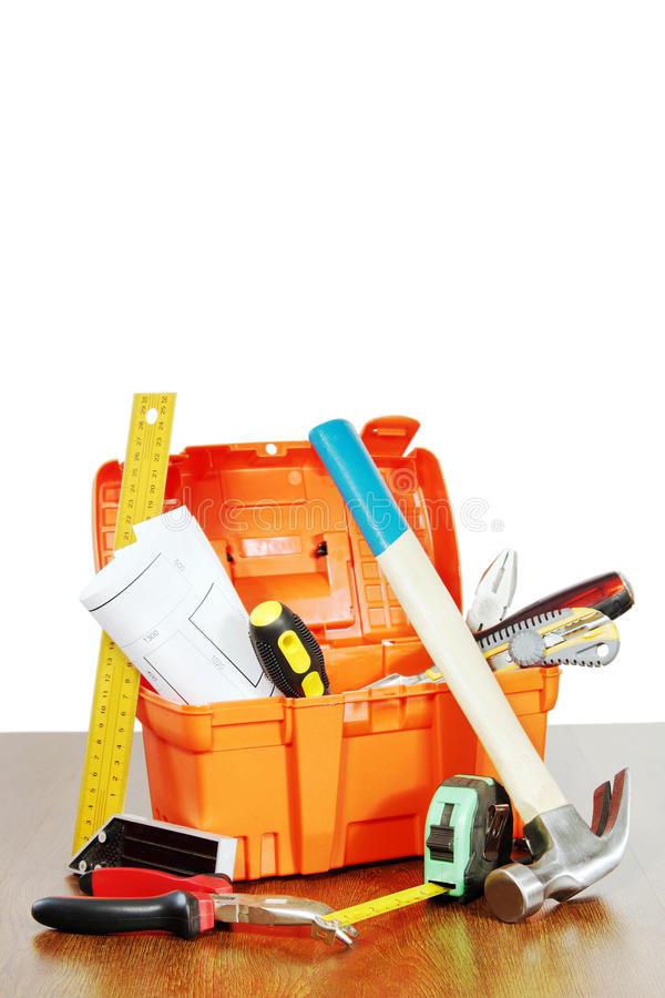 Download Plastic Toolbox With Various Working Tools Stands On A Table Stock Image - Image of tools, iron: 49337119