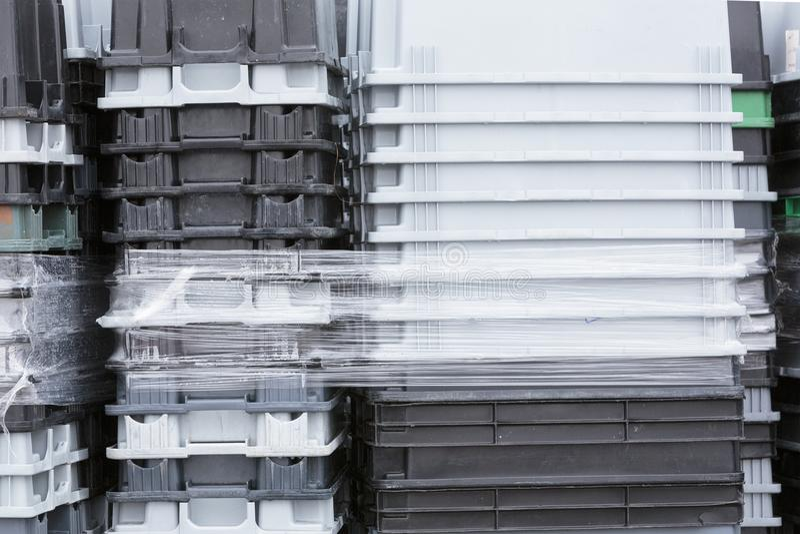 Plastic tote boxes stock photos
