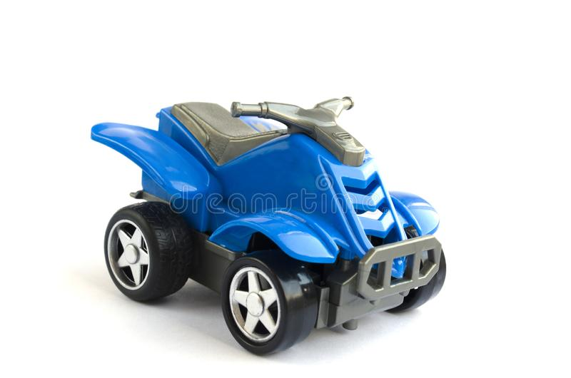 Plastic toy of blue color. the plastic motorcycle for children stock photography