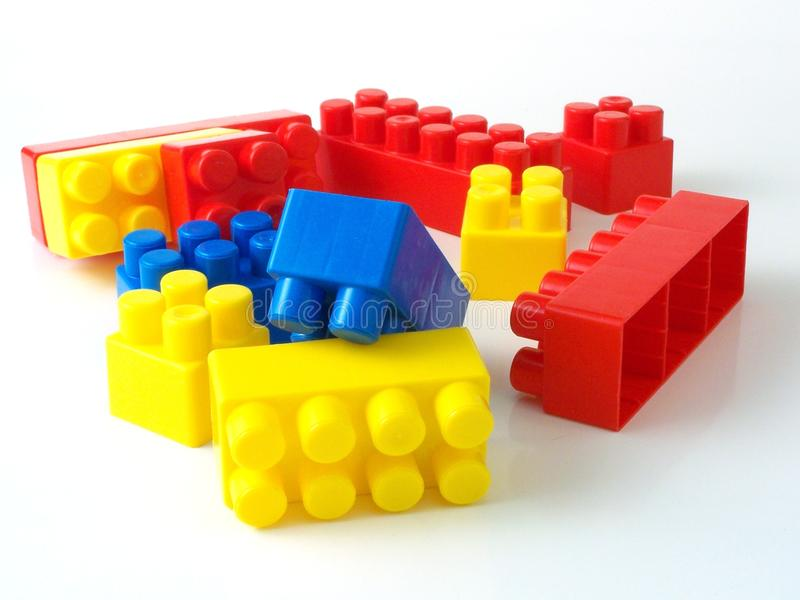 Plastic toy bricks. Close up isolated in studio royalty free stock photography