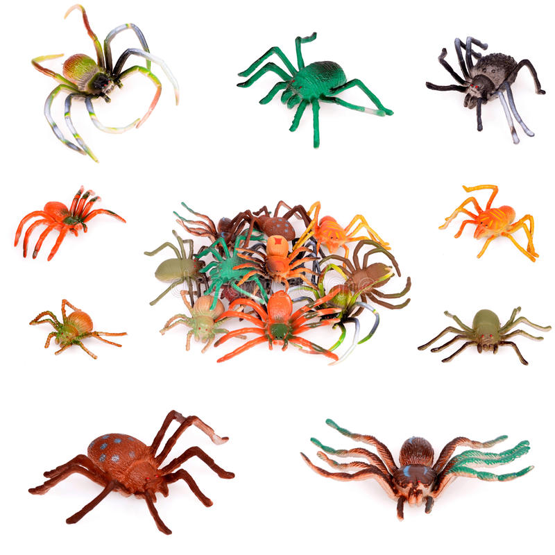 Plastic Toy collage. Colorful Plastic Toy Spiders on White Background stock photo