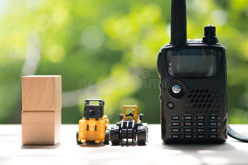 Plastic toy and portable radios walkie-talkie. With nature background royalty free stock image