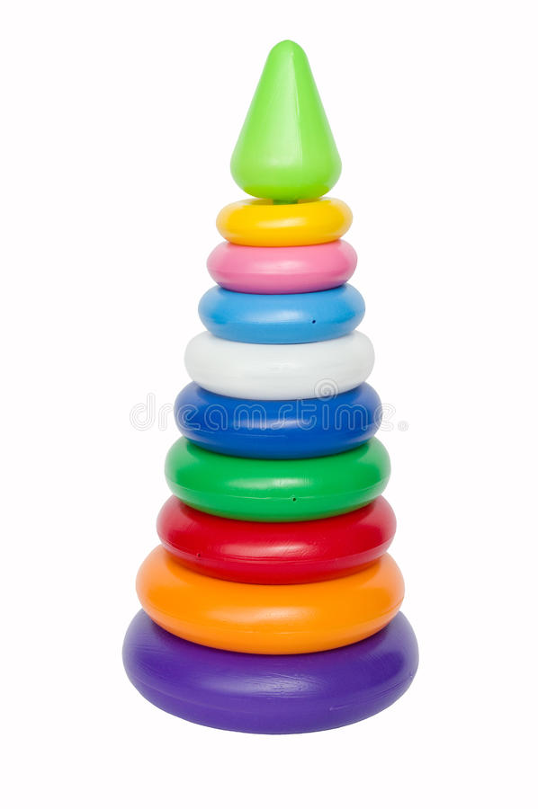 Plastic toy pyramid. On a white background stock image