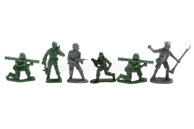 Plastic toy soldiers stock photos