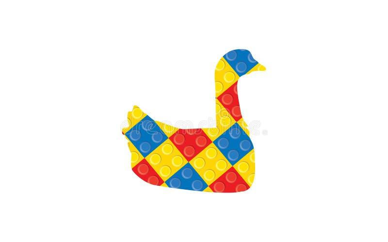 Plastic toy swan logo on white background. Lego concept stock photos